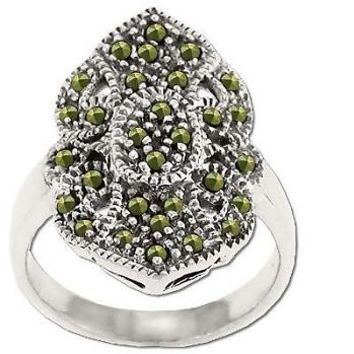 Sterling Silver Genuine 30 Marcasite Lacy Ring