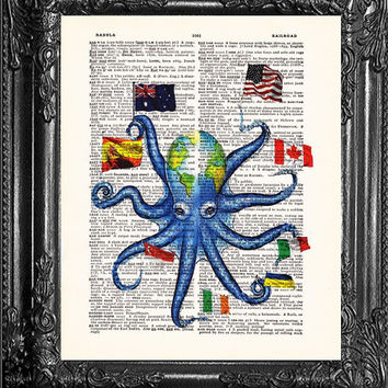 World Octopus Dictionary ART Print Vintage Book Print Dictionary ART Page, Upcycled Antique Book , Print on Dictionary Book Page dictionary