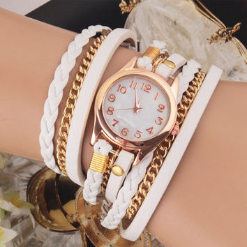 White Multilayer Faux Leather Strap Band Women Bracelet Quartz Wrist Watch