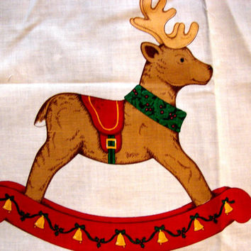 Cranston Christmas Fabric Panel Stuffed Animal Rocking Reindeer pillow toy 16""