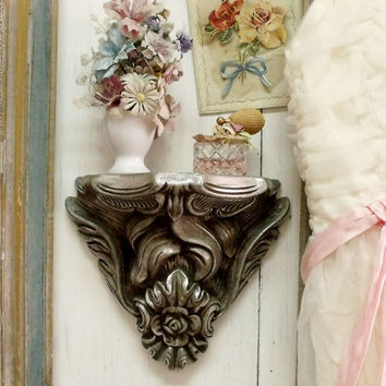 Aged architectural French wall shelf pewter silver floral distressed small shelf shabby chic french chic shelf