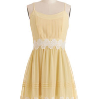 ModCloth Mid-length Spaghetti Straps A-line Life is But a Gleam Dress in Yellow