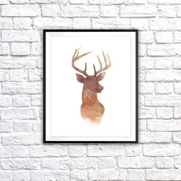 Watercolour Deer, Wall Art Print, Animal Print, Woodland animals, Stag, Antlers, Watercolor Print, Wall Home Decor, Bedroom Decor