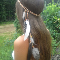 Native, American, style, Feather HeadBand, hippie wedding, Boho headband, bohemian headband, feather headpiece, feather hair, free people