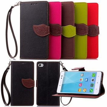 For Lenovo S850 Luxury Leather Cover Flip Wallet Phone Case For Lenovo S90 With Leaves Buckle And Lanyard Mobile Phone Shell