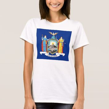 Women T Shirt with Flag of New York State
