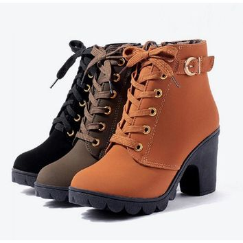 Plus Size Ankle Thick Heel Short Ladies Casual Boots