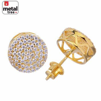 Jewelry Kay style Men's Iced Out Bling Large 12 mm Flat Round Circle Screw Back Stud Earrings 5117