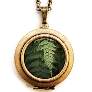 Photo Locket - Fern - Nature Botanical Green Plant Photo Locket Necklace