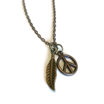 Hippie Necklace, Antique Brass Style Jewelry, Peace Sign Symbol, Leaf Charm, Free Spirit Jewelry, Rustic Necklace