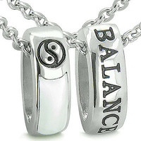 Forever Balance Love Couples Reversible Rings Set Yin Yang Amulets White Cats Ey