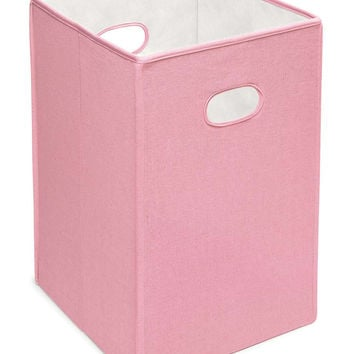 Badge Baskets Folding Hamper Storage Bin (Pink)