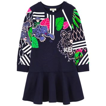 Kenzo Girls Dark Navy Colorful Jungle Tiger Dress