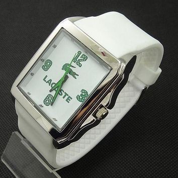 DCCKJ1A Lacoste tide brand fashion men and women stylish exquisite watches F-SBHY-WSL White + silver case + green number dial