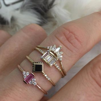 cz cluster ring red white cubic zirconia thin simple band cute lovely girl gift minimal rose gold color fashion finger Midi ring