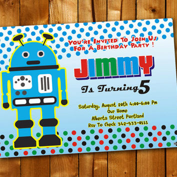 Robot Polka Dot, Birthday Invitation, Birthday Party for little boy and little girl