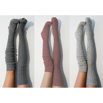 3pk Thigh High Socks, Women's Over the Knee Socks, Charcoal, Marsala, Salt N Pepper