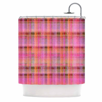 "Carolyn Greifeld ""Watercolor Pink Plaid"" Yellow Pattern Shower Curtain"