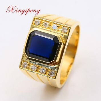 Xin yi peng 18 k yellow gold inlaid 3.5 carat natural sapphire ring, men's  ring, diamond