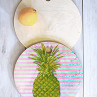 Madart Inc. Striped Pineapple Cutting Board Round