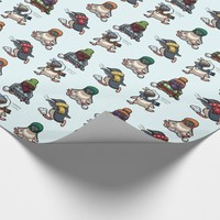 Colourful Christmas Penguin Snowball Fight Cartoon Wrapping Paper