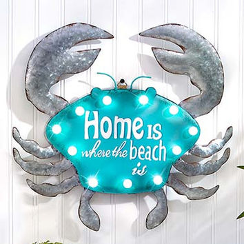 Metal Crab Wall Art Lighted Coastal Beach Sign Sea Sculpture Home Tropical