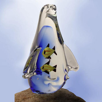 Clear Glass Art Penguin Figurine with Yellow Fish Encased Inside