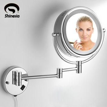 "Brass 3X /1X LED Lighted Vanity Make Up Mirror Double Side 8"" Magnifying Mirror"