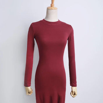 Half a turtle neck stretch of cultivate morality dress