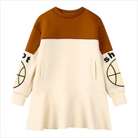 Beige Ball Sleeve Print Color Block Sweatshirt Dress