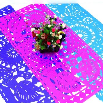 3 Pack of Papel picado Mexican table runners, Mexican theme party Decorations, Fiesta decorations, 20X39 Inches,