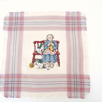 Vintage Counted Cross Stitch, Primitive Lady Knitting, Lady with Cats