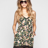 Lottie & Holly Floral Print Crochet Trim Womens Romper Black Combo  In Sizes