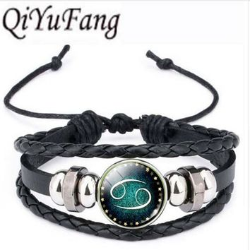 Qiyufang Zodiac Constellation Picture Glass Cabochon Stud bracelet bangle Vintage  Color For Women Fine Jewelry 2017