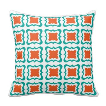 Modern Square Repeat Pattern Teal Orange White Throw Pillow