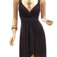 Patty Women Strappy Beads Waist Wrap Asym Hem Cocktail Party Mini Flow Dress
