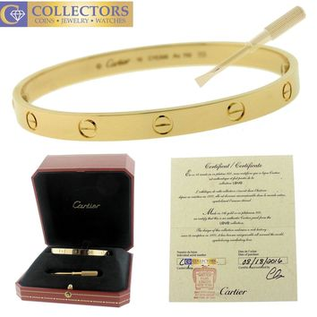 MINT Ladies 2016 Cartier LOVE Screw Size 19 18K Yellow Gold Bangle Bracelet