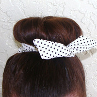 "Top Knot Wire Wrap Black Polka Dots on Creme ""Mini"" Dolly Bow Wire Headband Ponytail Hair tie Hair Bun Tie Wrap"