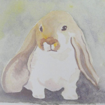 Animal Art Print Lop Eared Bunny Rabbit Print from Original Watercolor 4 x 6