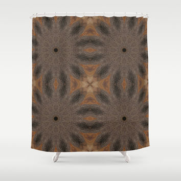 Brown & Taupe Sunburst Flowers Shower Curtain by 2sweet4words Designs | Society6