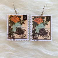 Roses and Carriage Paper Stamp Earrings - Handmade, Stamp Collectors, Paper Earrings, US Postage, 3 Cents, Postage Jewelry, Dangle, Unique