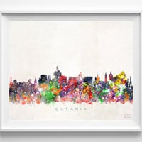 Catania Skyline Print, Italy Print, Catania Poster, Italian Art, Watercolor Art, Cityscape, Home Decor, Room Decor, Christmas Gift