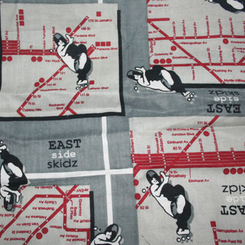 "Skateboard Fabric ""East Side Skidz"" Subway Map Grey Fabric for Boys Teens Remnant Quilt Fabric For Guys Extreme Sports Fabric Urban"