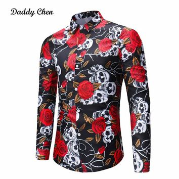 Skull Rose Print Plus Size Shirts Floral 3D Printed Men Shirts Gothic Men's Tops Tee Long Sleeves