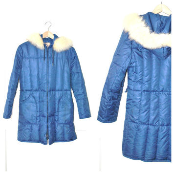 70s DOWN filled PARKA / vintage 1970s small fitted RETRO long colbalt blue padded fur trimmed petite winter coat