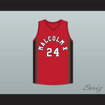 Malcolm X 24 Red Basketball Jersey