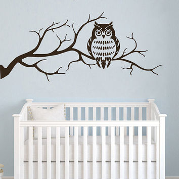 Wall Decals Owl on Branch Childrens Decor Kids Vinyl Sticker Wall Decal Nursery Baby Room Bedroom Murals Playroom - Owl Decor SV6015