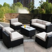 Ohana 7-Piece Outdoor Patio Wicker Furniture Sectional Conversation Set with Weather Resistant Cushions, Sunbrella Antique Beige (PN7037)
