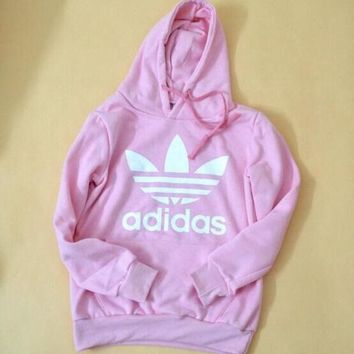 DCCKL72 x1love   'Adidas' Print Hooded Pullover Tops Sweater Sweatshirts Pink