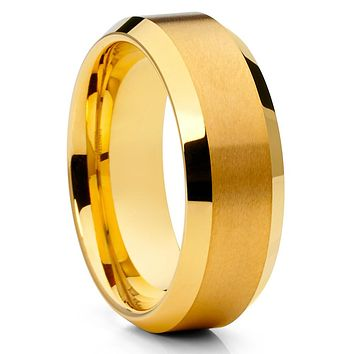 Men's Wedding Band - Yellow Gold Tungsten Ring - Yellow Gold Tungsten